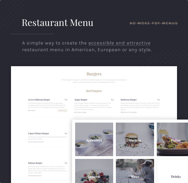 Restaurant Menu: A simple way to create the accessible and attractive restaurant menu in American, European or any style.