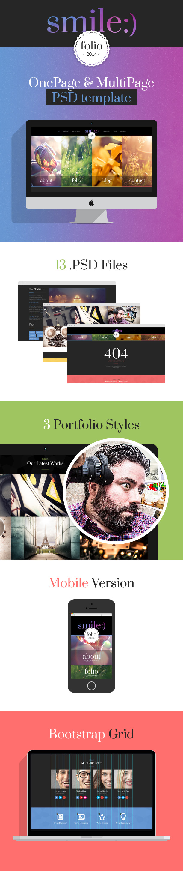 smile PSD bootstrap template