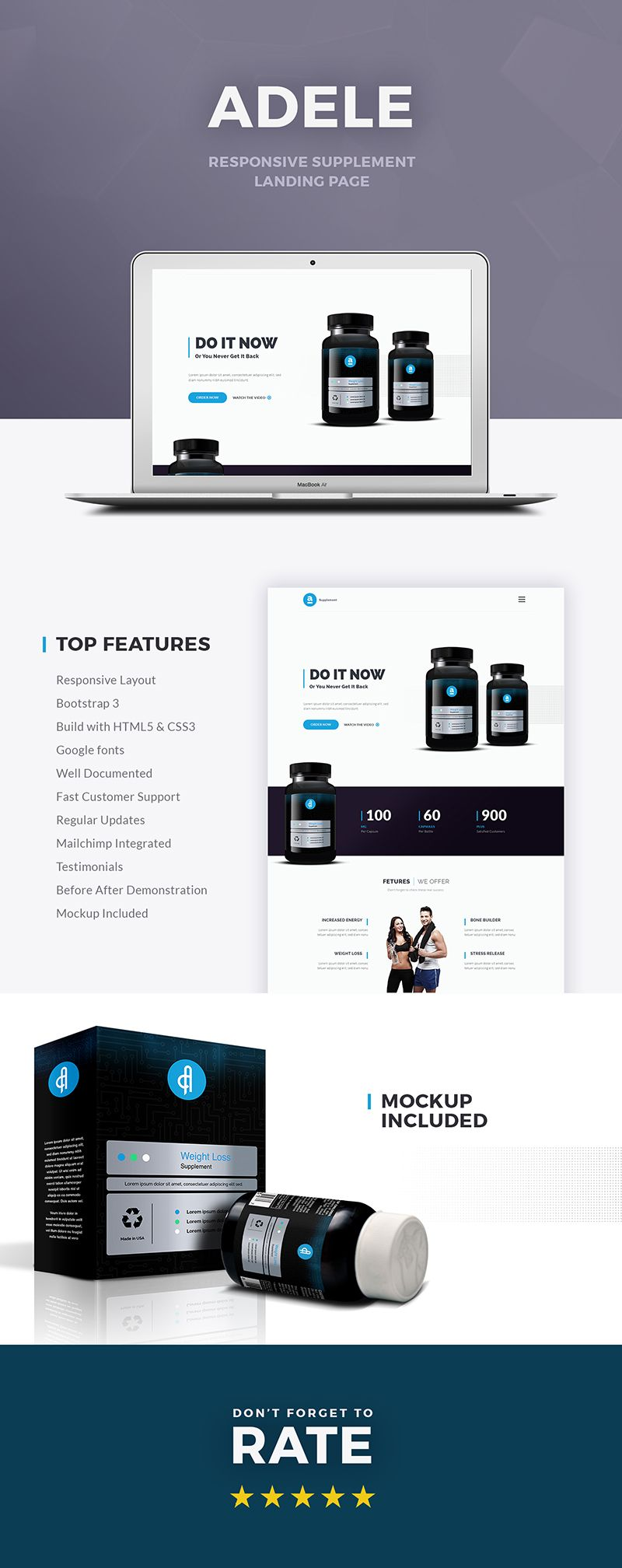 Adele Responsive Supplement HTML Landing Page - 1