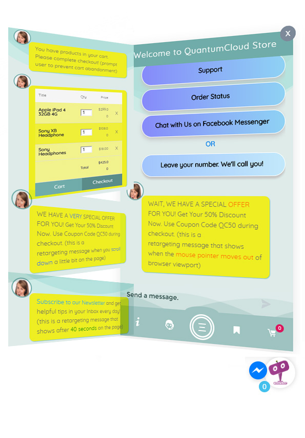 ChatBot für WooCommerce - Retargeting, Exit Intent, Abandoned Cart, Facebook Live Chat - WoowBot - 14