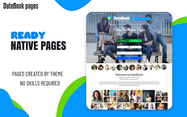 DateBook - Dating WordPress Theme. Ready native pages.