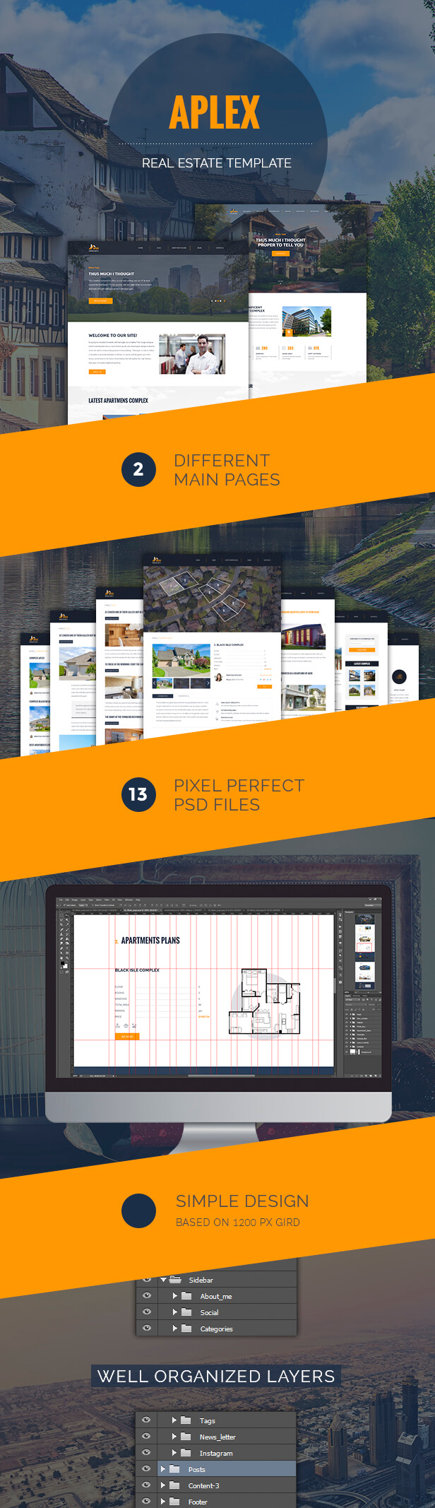 Awesome Pixel Perfect Real Esate PSD Template