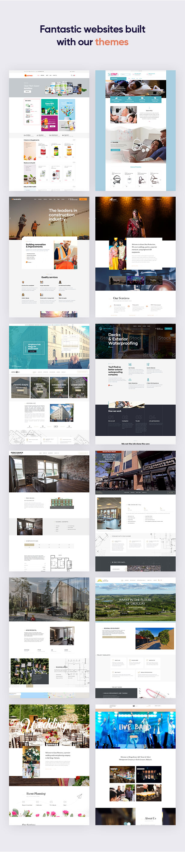 powerful & fantastic websites built with our themes