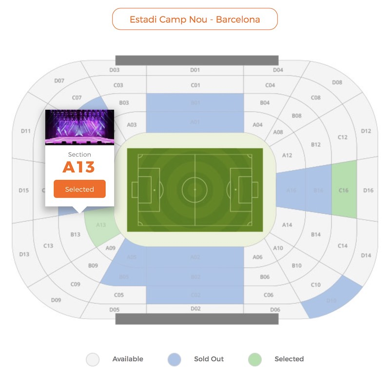 MyTicket - Custom Stadium, Hall design example HTML5 template