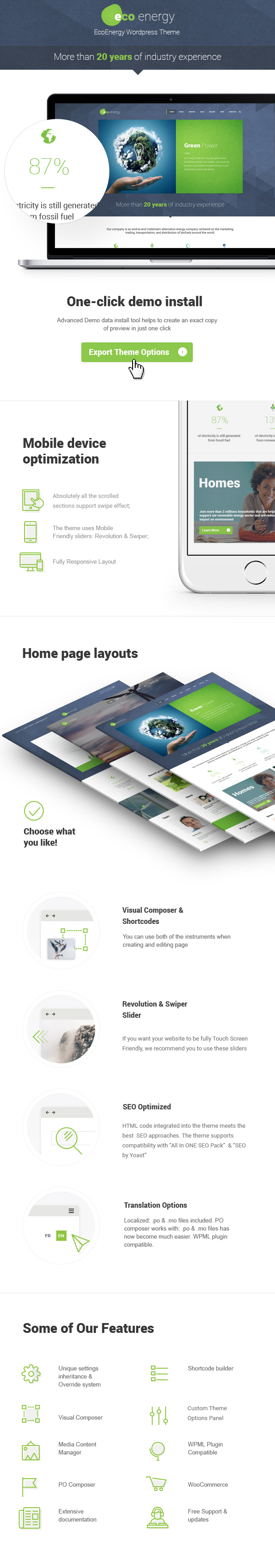 Eco Ecology & Alternative Power Company WordPress Theme features