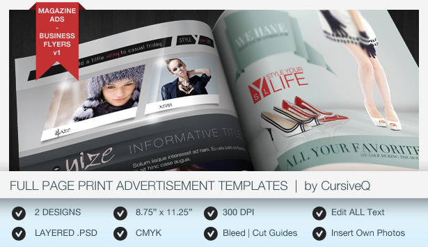 Print Ad Templates v3 Full Half Page Designs by CursiveQ – Half Page Flyer Template