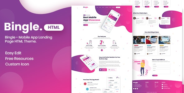 Bingle - Mobile App Landing Page HTML Theme - Apps Technology