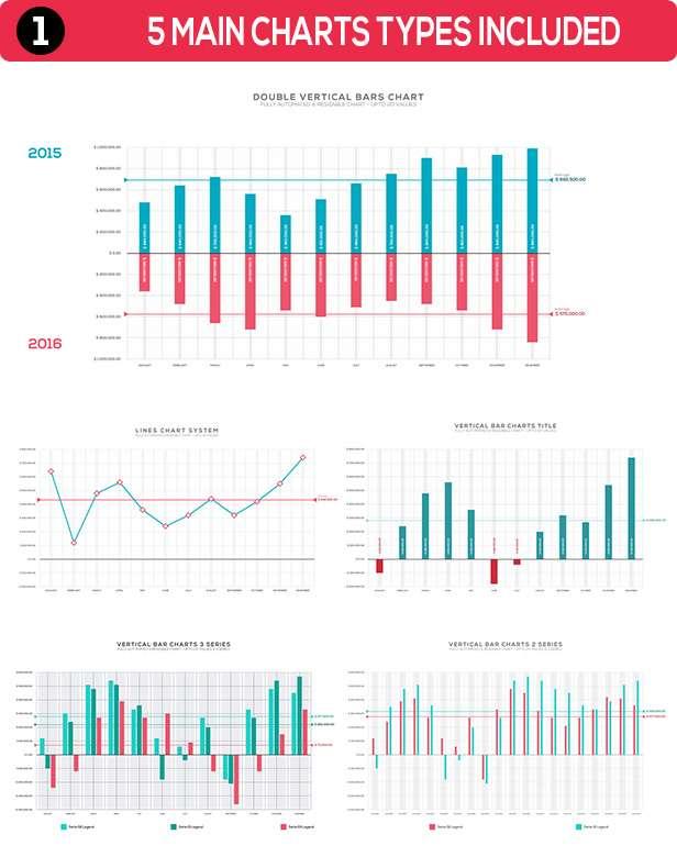 4K NextGen Infographics statistics pack one Main Charts Types