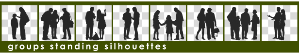 Silhouette Sitting Two Persons and Waiter - 6