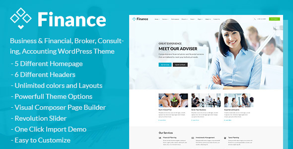 Finance - Business & Financial, Broker, Consulting, Accounting WordPress Theme - Business Corporate