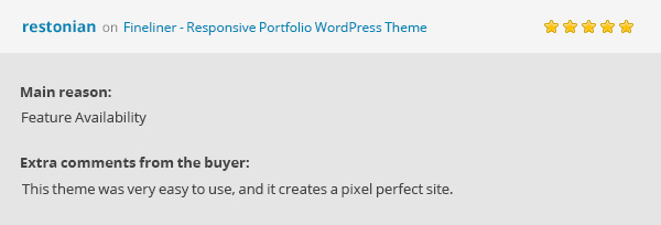 Fineliner Theme's Review: This theme was very easy to use, and it creates a pixel perfect site. by restonian.