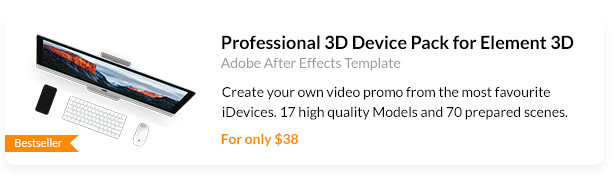 Create your own video promo from the most favourite iDevices. 17 high quality Models and 70 prepared scenes.