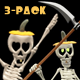 Dancing Skeleton Trio - Pumpkin Hats - Pack of 3 - 45