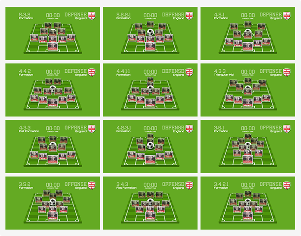 Select and organise any of the included 12 soccer formations with the right players, or move the cards around to create your custom formation.
