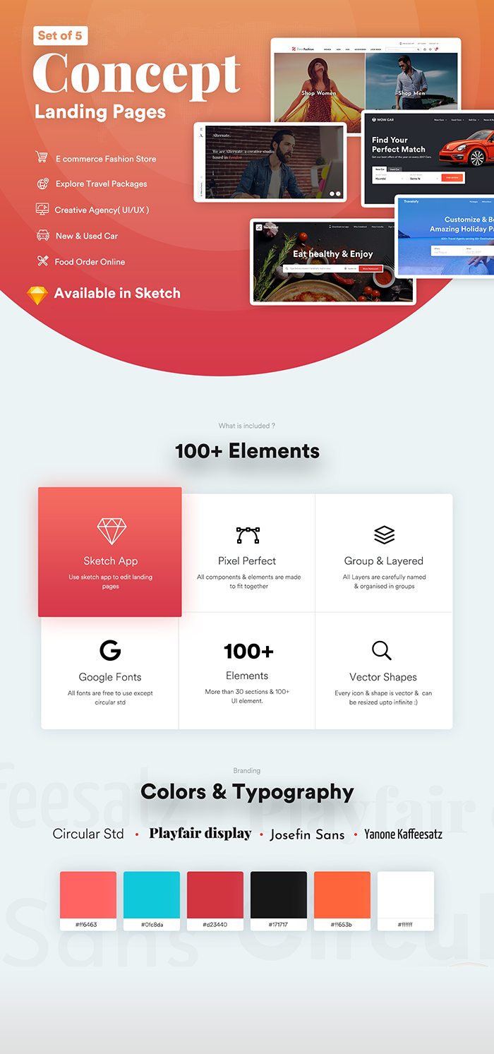 multi categories web design template for startups - sketch template