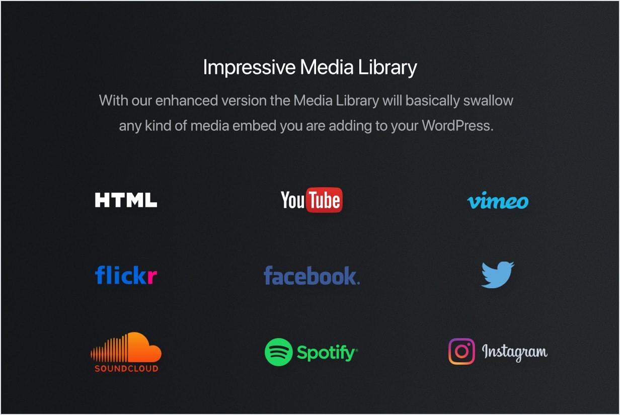 YouTube, Vimeo, Spotify, Twitter, Flickr, SoundCloud, Instagram