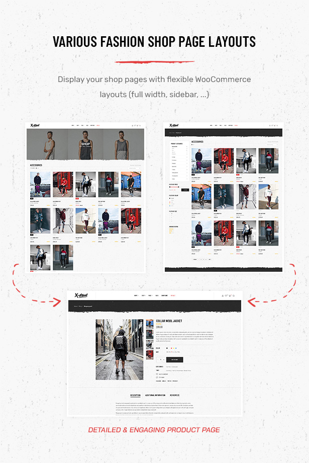 Various Shop Page Layouts in Striz Fashion Ecommerce WordPress Theme