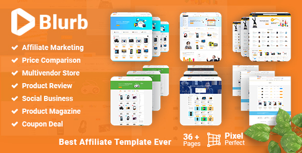 Blurb - Price Comparison with Review Based Multivendor store for Affiliate Marketing HTML5 Template