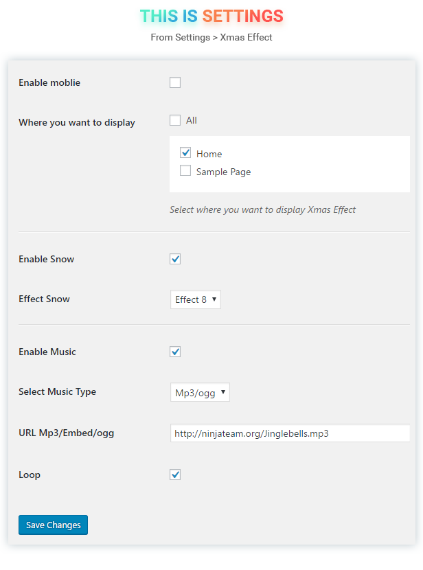 Snow Effects for WordPress Settings