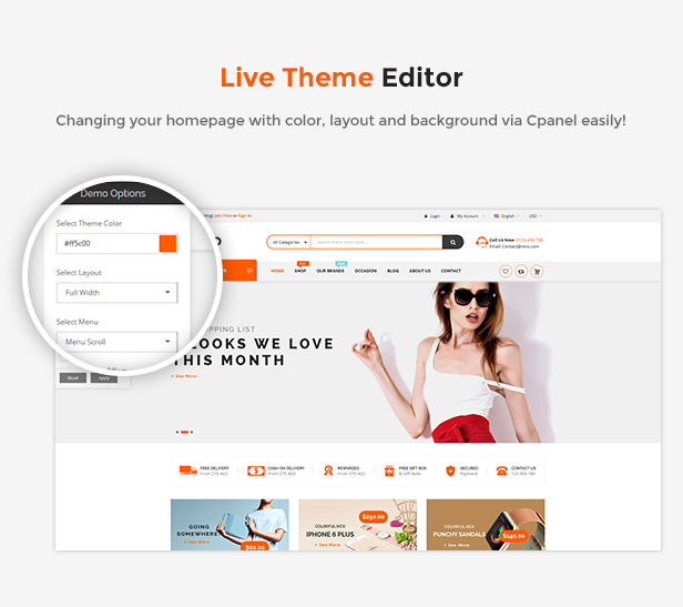 eCommerce Prestashop Shopping Theme - live editor theme