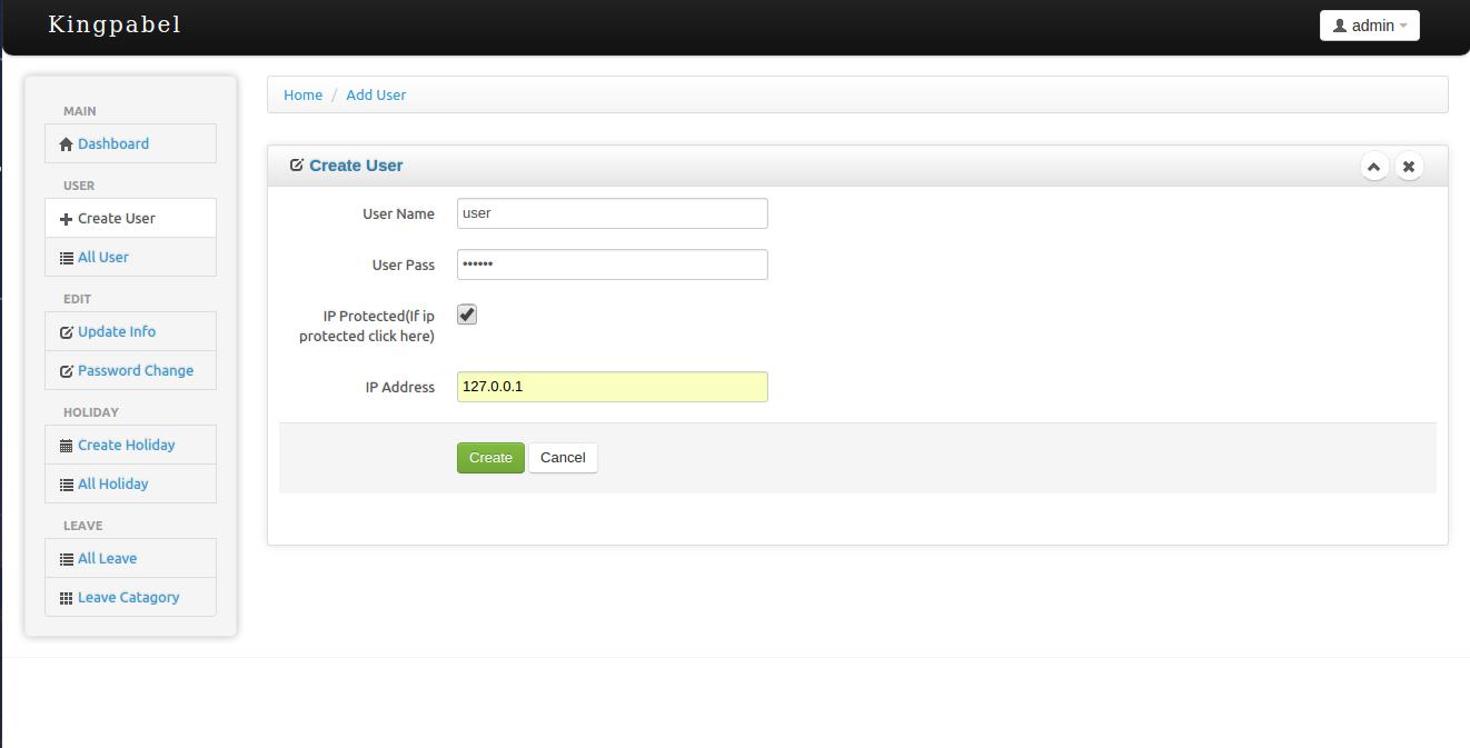 Timesheet attendance management system user create