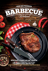 BBQ barbecue restaurant flyer'14