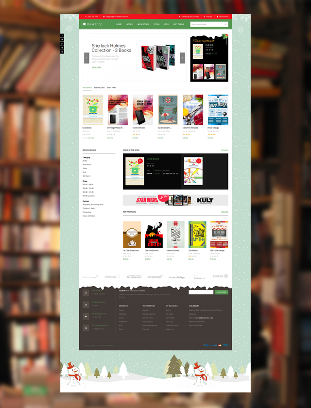 Christmas theme skin of responsive Magento theme JM Bookshop