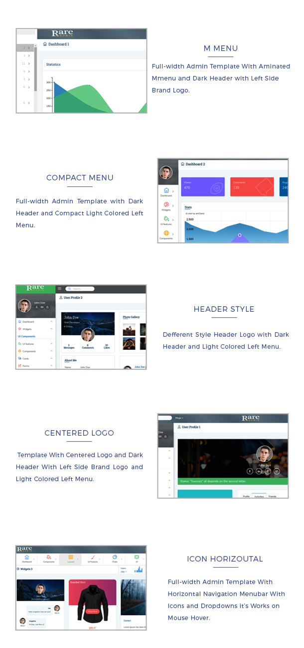 Rare admin template has 13 layouts like fixed menu, compact menu, horizontal menu, mmenu etc