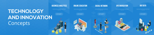 Technology And Innovation. Isometric Tmplate
