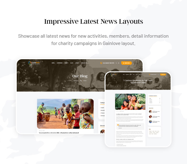 Gainlove Nonprofit WordPress Theme - 03+ Blog Layouts & Latest News