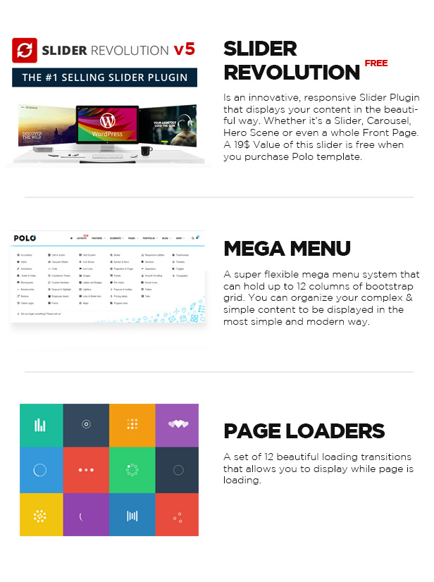 SLIDER REVOLUTION, MEGA MENU, PAGE LOADERS