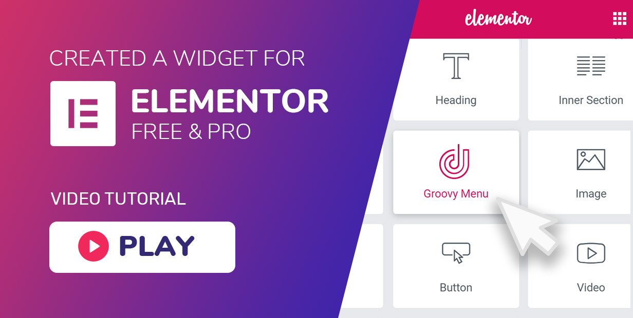 Mega menu has a widget (element) for Elementor free and pro