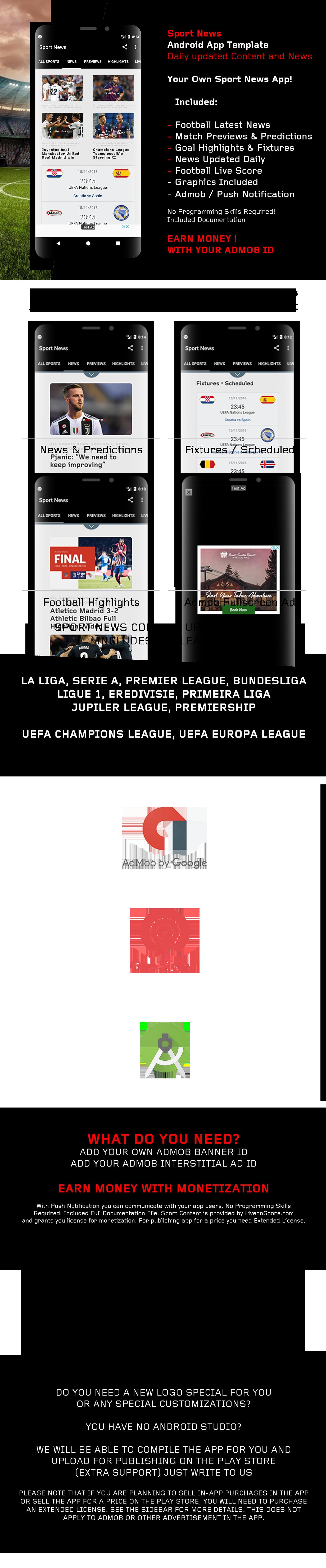 Sport News - Football Android App Template (Admob/Push) - 1