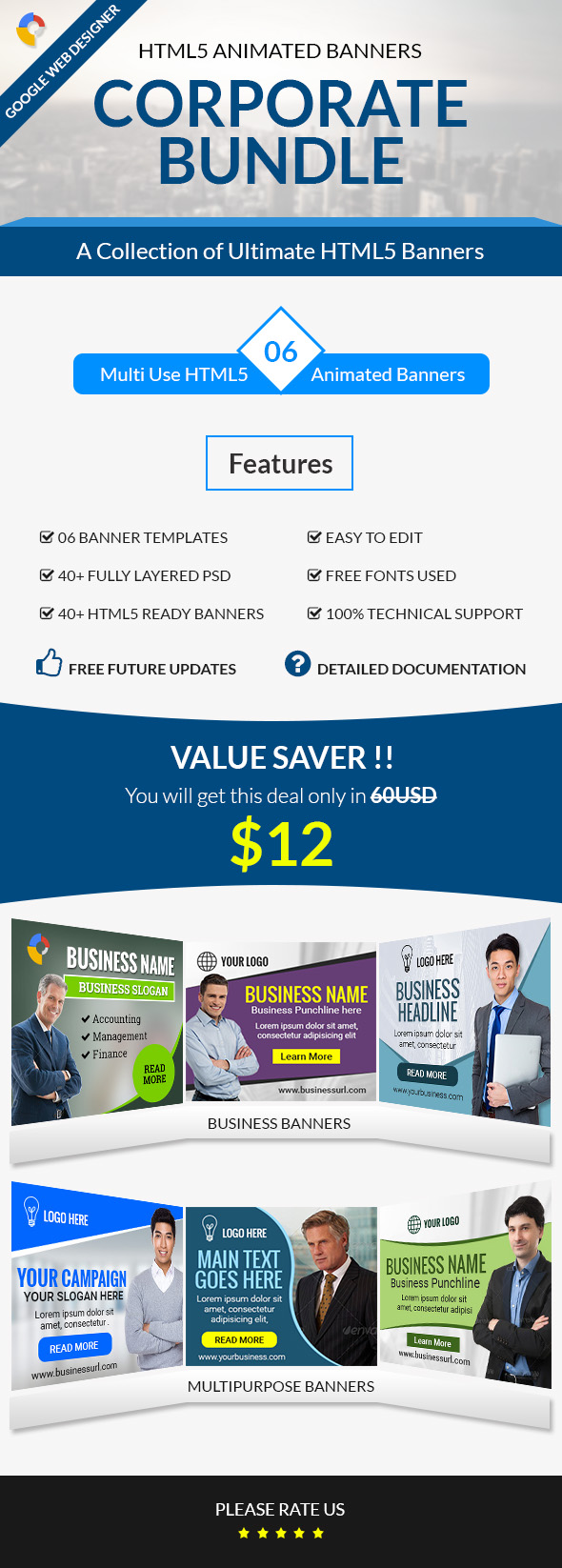 Corporate Bundle 6 in 1 HTML5 Animated Banner Templates
