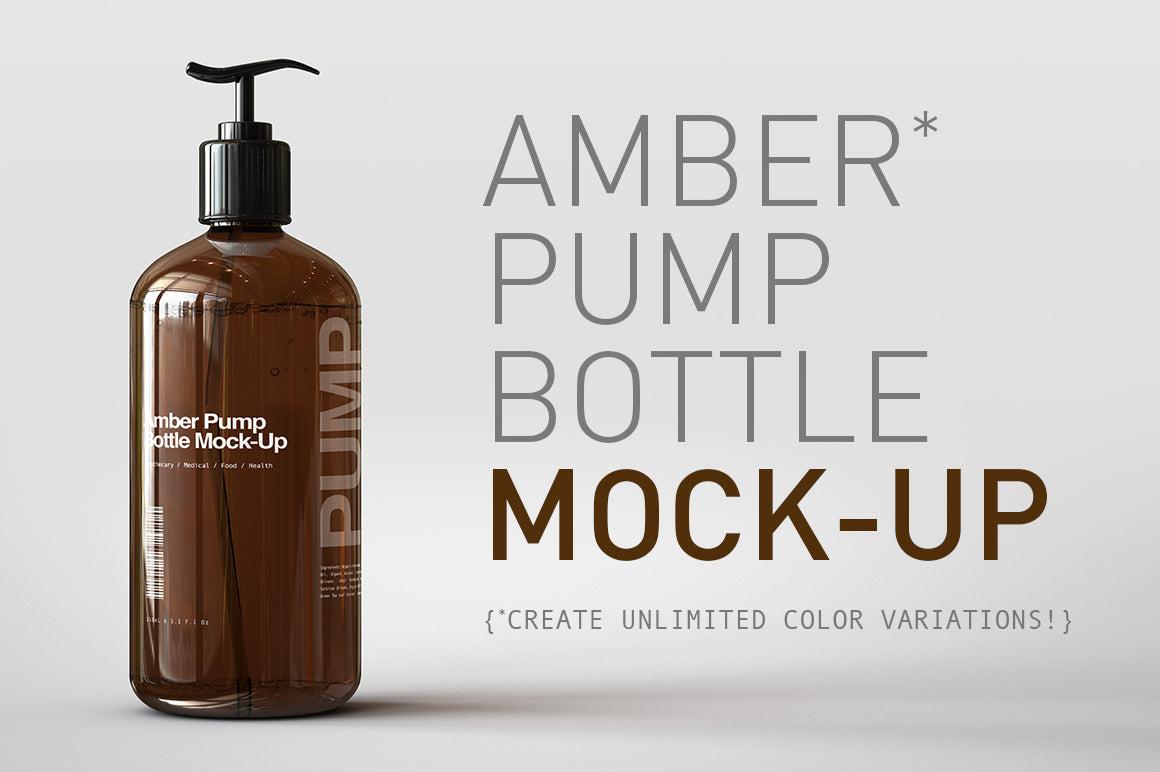 Amber Pump Bottle Mock-Up