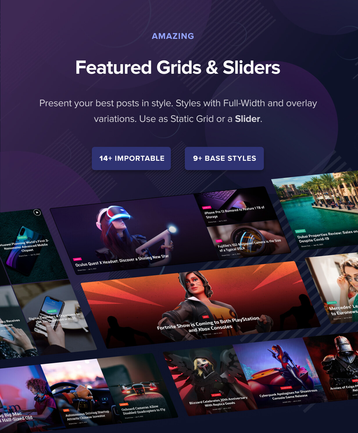 Featured Grids & Sliders