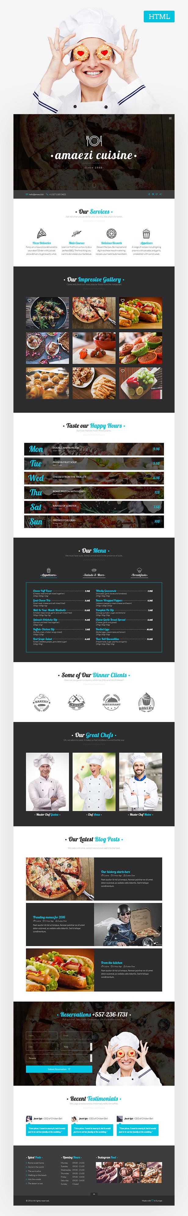 Amaezi - Responsive Restaurant HTML Template by ThemeSLR   ThemeForest