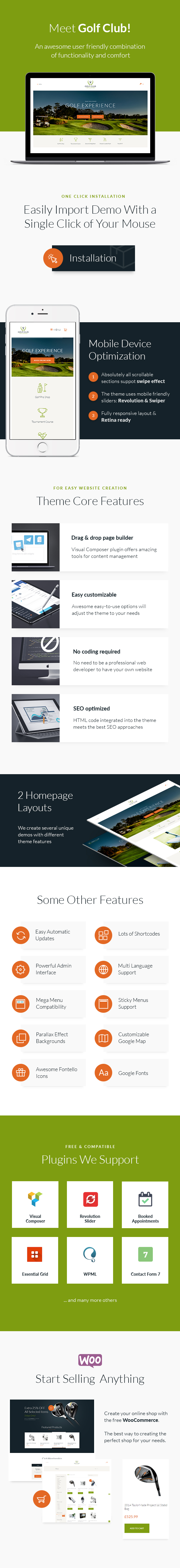 Golf Club - Sports & Events WordPress Theme features
