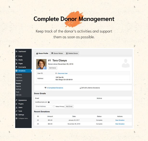 Complete Donor Management in Givelove Non Profit Charity & Crowdfunding WordPress Theme