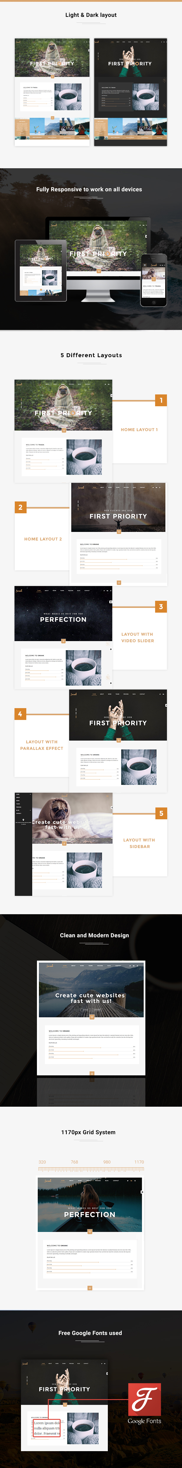 Swank - Creative One Page with Blog template by venbradshaw ...