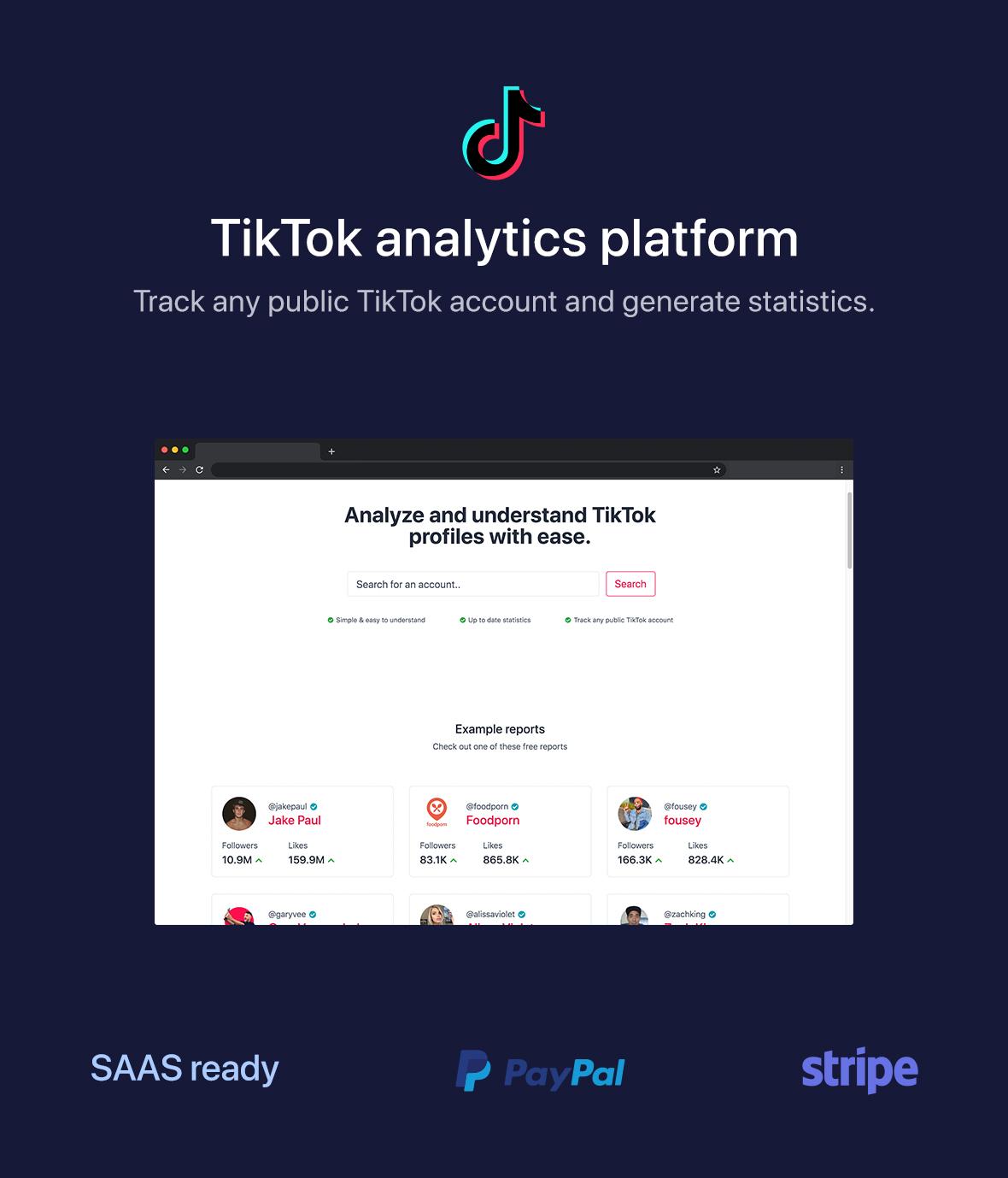 phpStatistics - TikTok Analytics Platform (SAAS Ready) - 1
