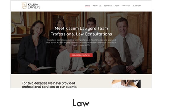Law Demo suitable for Lawyers, Attorneys, Legal Advisers, Legal offices or Advocates website
