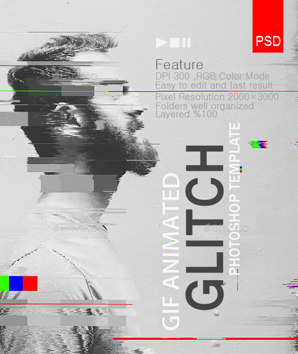 Animated Glitch Text - Logo -Image  Photoshop Template - 5