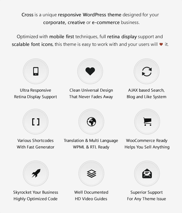 Cross is a unique responsive WordPress theme designed for your corporate, creative or e-commerce business.