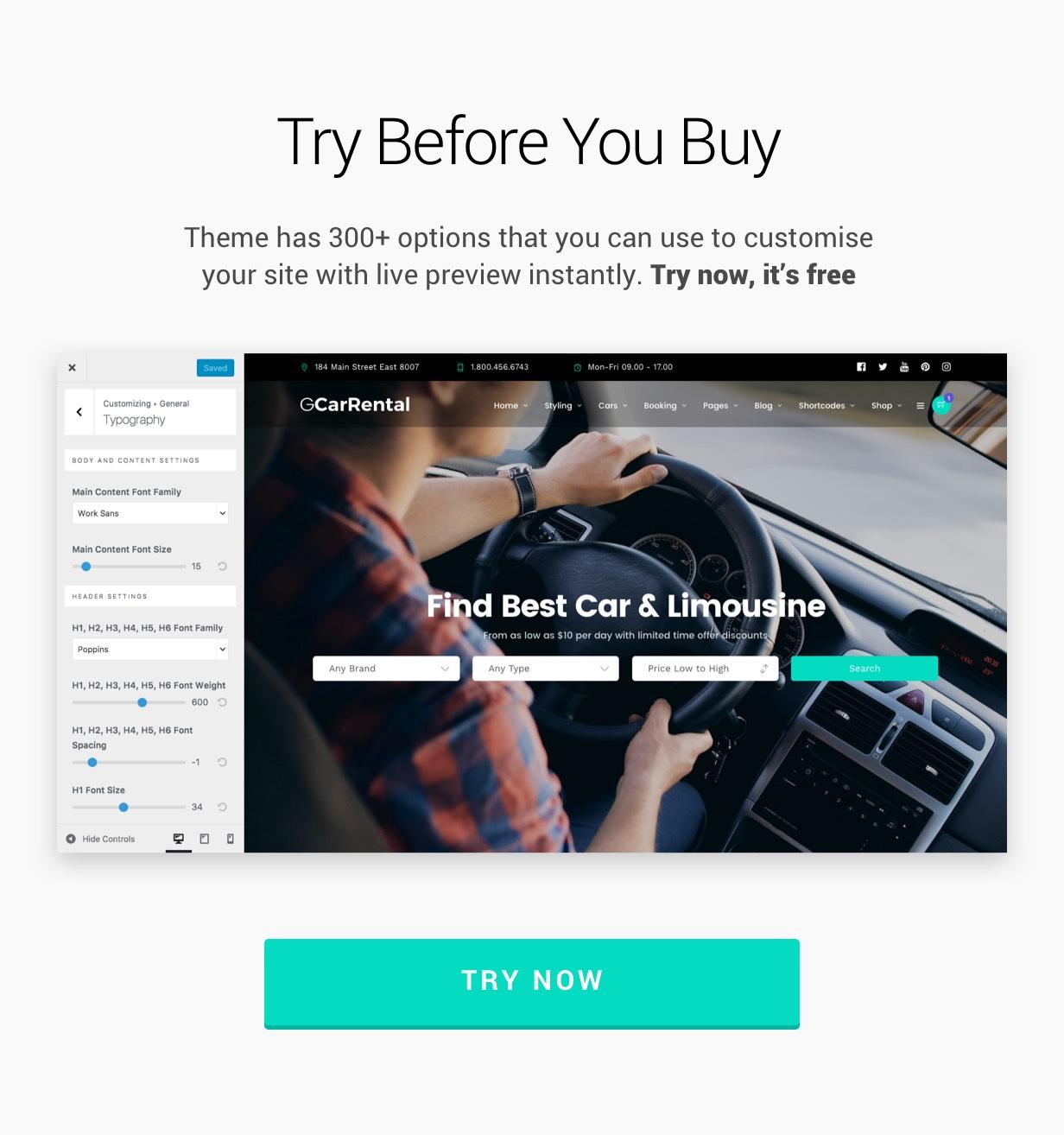Grand Car Rental Limousine Car Rental Wordpress By Themegoods