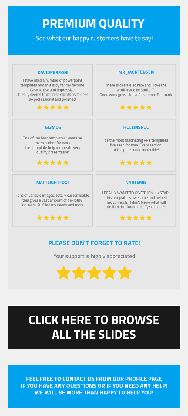 what our happy customers have to say about our presentations.