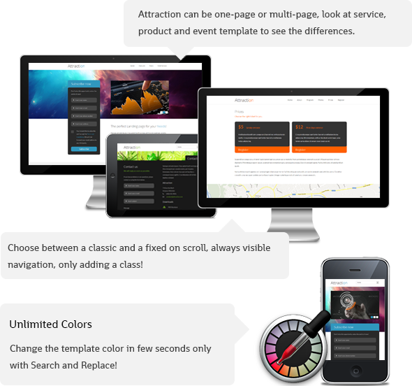 Attraction Responsive WordPress Landing Page Theme - 1