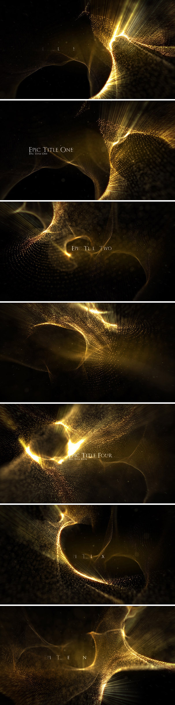 Golden Epic Titles After Effects Template for historical, scientific themes, movie / TV titles