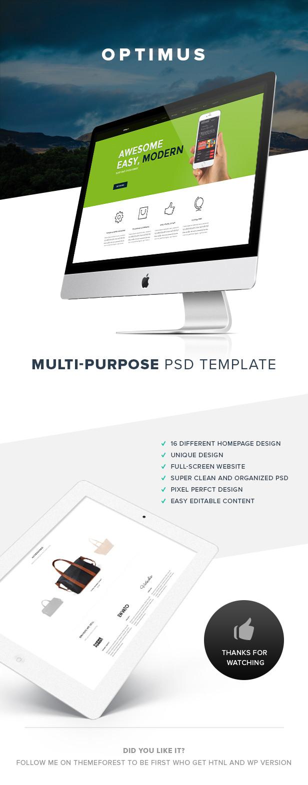 OPTIMUS Multi-Purpose PSD Template - 4