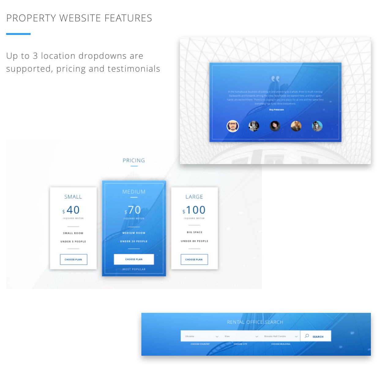 Property website features. Up to 3 location dropdowns are supported, pricing and testimonials.